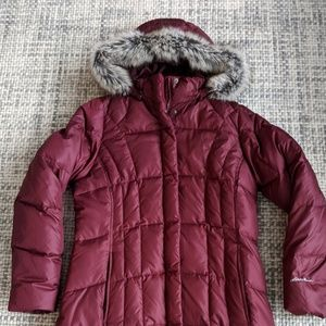 Eddie Bauer thigh-length puffer, size large